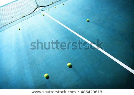 テニス · 赤 · 粘土 · フィールド · ポール · 純 - ストックフォト © smuki