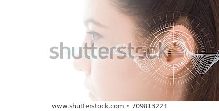 Szemcsés kép fej fül reflektor keret Stock fotó © Stocksnapper