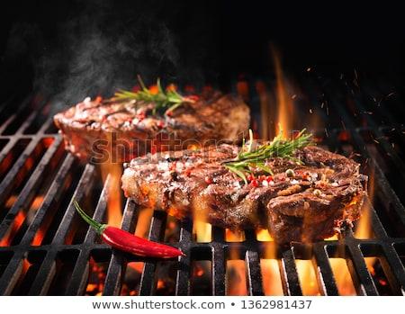Carne romero piezas crudo negro Foto stock © saharosa