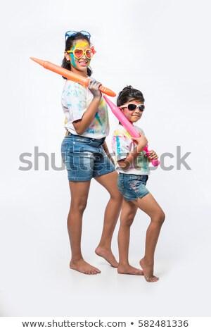 Jongen kleuren plaat leuk portret Stockfoto © imagedb