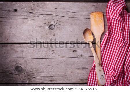 Fakanál tea törölköző piros tiszta ruha Stock fotó © Digifoodstock