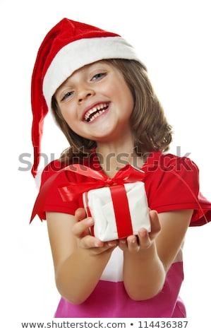 Halten rot Weihnachten Geschenk weiß Stock foto © feverpitch