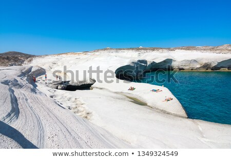 Chalk cliffs in Sarakiniko, Milos island, Cyclades, Greece Stock photo © ankarb