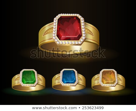 vector golden ring with ruby stock photo © dashadima
