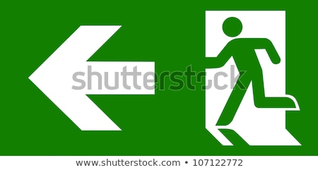 Notfall exit sign Holz Planke Wand Zeichen Stock foto © stevanovicigor