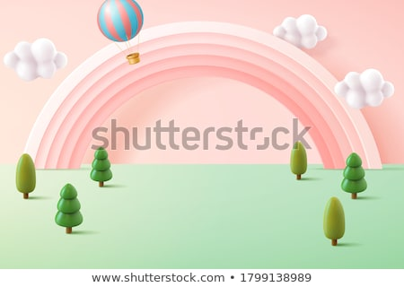 Stage with rainbow in backdrop Stock photo © bluering