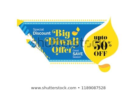 Diwali vásár szalag poszter sablon villanykörték Stock fotó © SArts