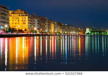Cais crepúsculo Grécia linha do horizonte crepúsculo Foto stock © joyr