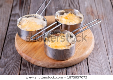 three bowls with chicken and mushrooms julienne on the table stock photo © yatsenko