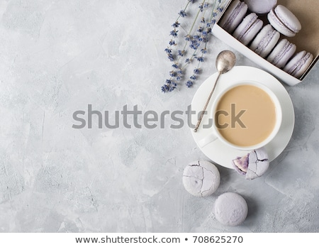 colorful macaroons on white vintage table with copy space stock photo © yatsenko