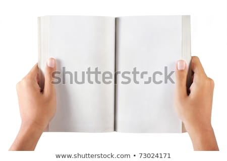 man hand writing in open book isolated on white stock photo © julenochek
