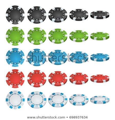 set of different casino chips in 3d vector illustration stock photo © kup1984