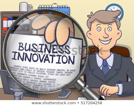 Business Automation through Magnifying Glass. Doodle Design. Stock photo © tashatuvango