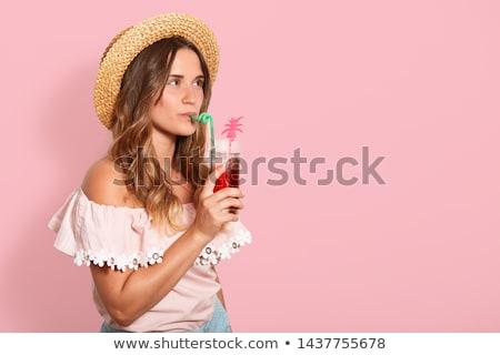 kókusz · friss · koktél · profil · tengerpart · nő - stock fotó © lunamarina
