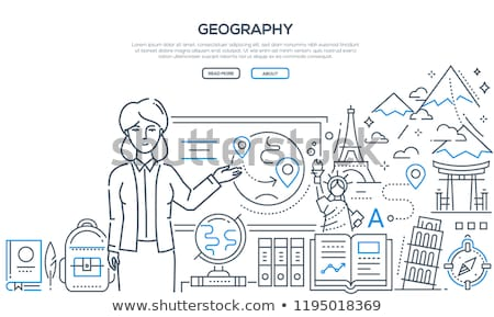 Geography lesson - modern line design style banner Stock photo © Decorwithme