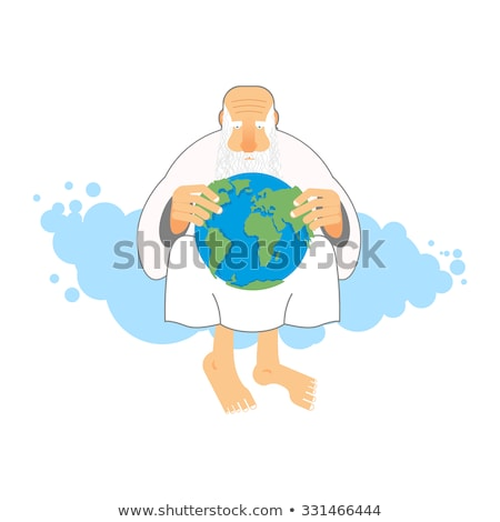 God holds Earth. Old man sits in heaven keeps  planet in their h Stock photo © popaukropa