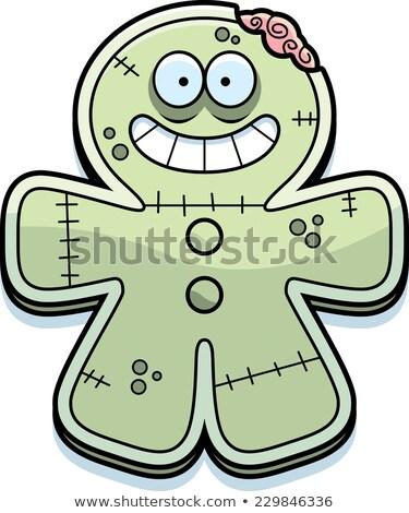 Felice cartoon pan di zenzero zombie illustrazione guardando Foto d'archivio © cthoman
