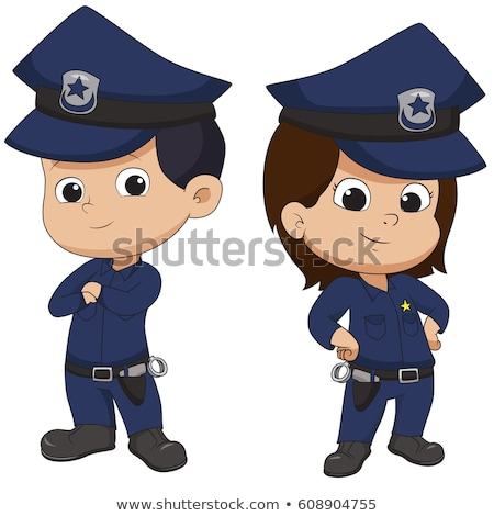Cartoon Smiling Police Officer Girl Stock photo © cthoman