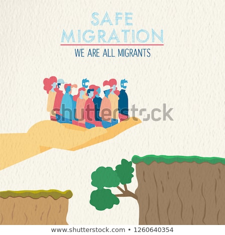 Safe migration concept of diverse ethnic people Stock photo © cienpies