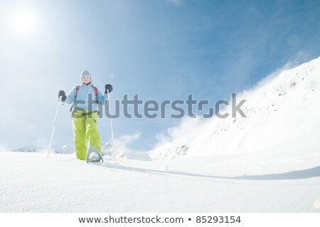 Racket to walk on snow, winter sports and outdoor activities equipment or Snowshoes, vintage hand dr Stock photo © JeksonGraphics