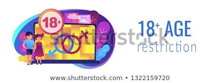 Yetişkin içerik afiş çocuklar dizüstü bilgisayar Stok fotoğraf © RAStudio