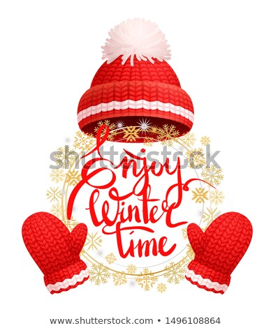 Enjoy Wintertime Greeting Card Warm Red Hat, Glove Stock photo © robuart