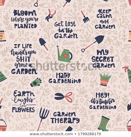 garden tools lettering illustration stock photo © lenm