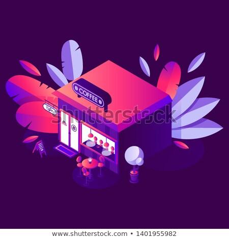 кофейня дизайна Purple крыши иллюстрация пейзаж Сток-фото © colematt