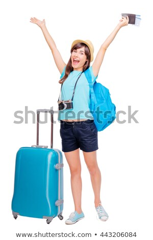 pretty girl with suitcase isolated on white zdjęcia stock © elnur