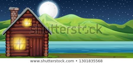 rivier · scène · nacht · illustratie · water · bos - stockfoto © colematt
