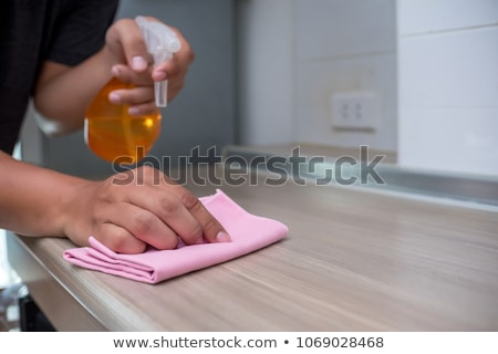 Woman Cleaning Furniture With Spray Bottle Stock photo © AndreyPopov