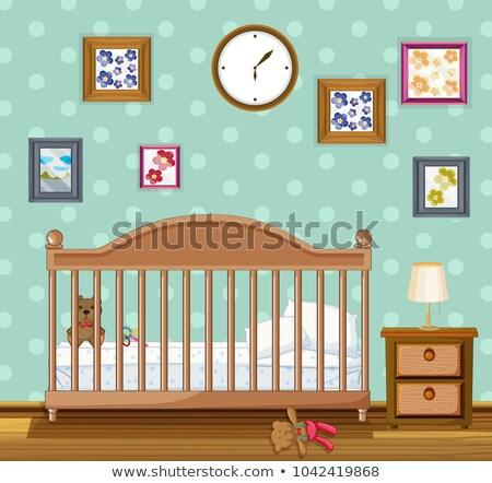 Slaapkamer scène beren illustratie klok home Stockfoto © colematt