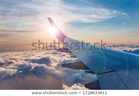 Seyahat düzlem siluetleri durmak büyük pencere Stok fotoğraf © ConceptCafe