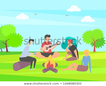 People in park, Playing Guitar, Bonfire Vector Stock photo © robuart