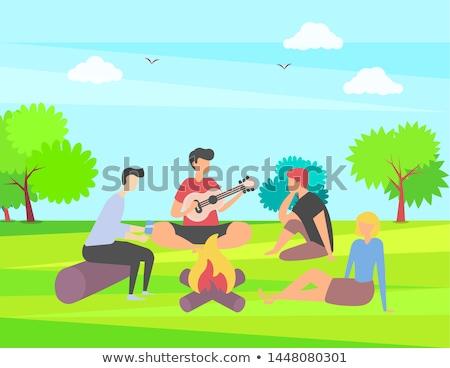 Mensen park spelen gitaar vreugdevuur vector Stockfoto © robuart