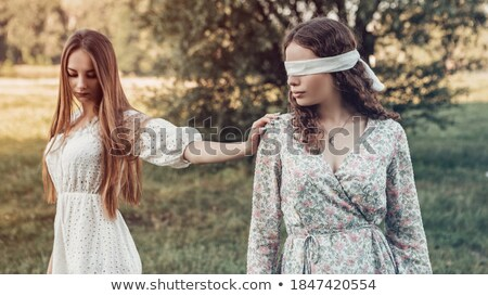 Woman in Forest Gathering Flowers, Green Trees Stock photo © robuart