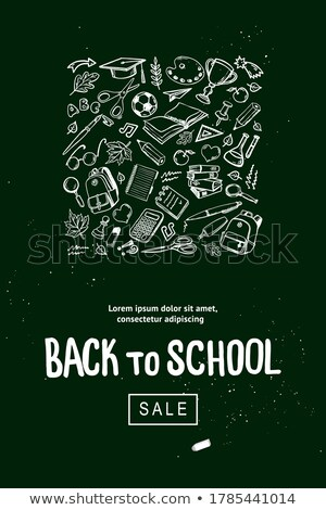 Sale school supplies promotion advertise poster Vector. Line art outline drawing textures stock photo © frimufilms
