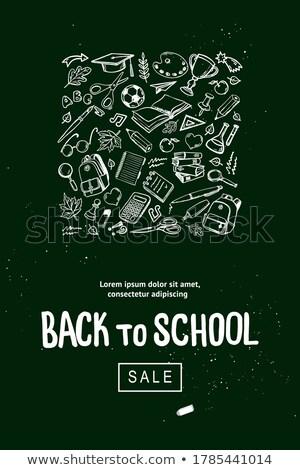 Satış okul malzemeleri tanıtım duyurmak poster vektör Stok fotoğraf © frimufilms