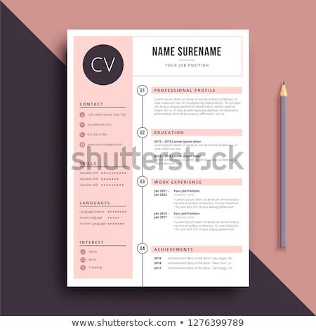 Minimalist resume cv template for women Stock photo © orson
