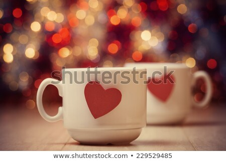 love coffee cup of coffee blurred background from red hearts vector illustration stock photo © ikopylov