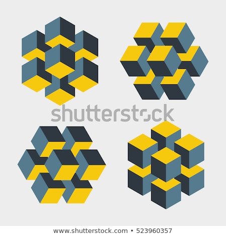 Isometric logo design cube or block set. Mathematical object with three-dimensional effect. Stock Ve Stock photo © kyryloff