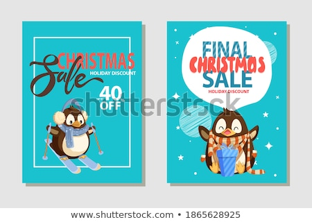 Christmas Sale Clearance, Penguin on Skis Vector Stock photo © robuart