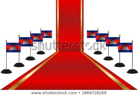 Cambodja vlag witte teken reizen print Stockfoto © butenkow