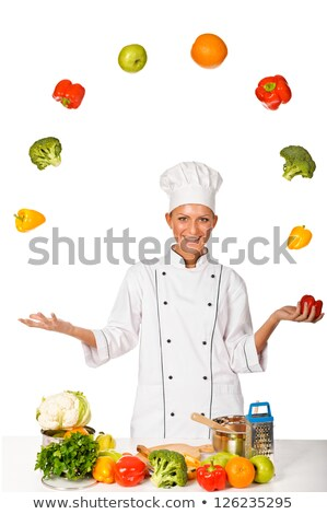 Woman juggle vegetable Stock photo © Lopolo