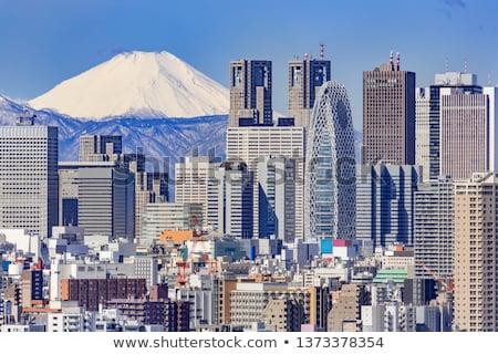 Tokyo skyline with skyscrapers and sun Stock photo © ShustrikS