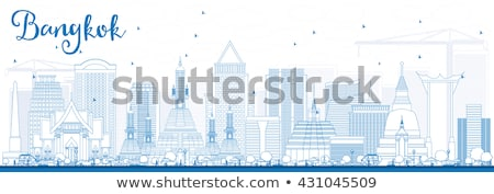 Outline Bangkok Skyline with Blue Landmarks.  Stock photo © ShustrikS