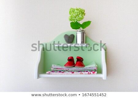 Plank bloemen laarzen kleding baby kamer Stockfoto © dashapetrenko
