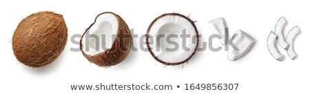 Set natürlichen voll Kokosnuss Früchte Hälfte Stock foto © artjazz