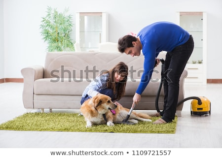 Photo stock: Husband Cleaning House From Dog Fur