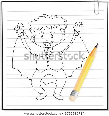 Hand tekening jongen dracula kostuum schets Stockfoto © bluering
